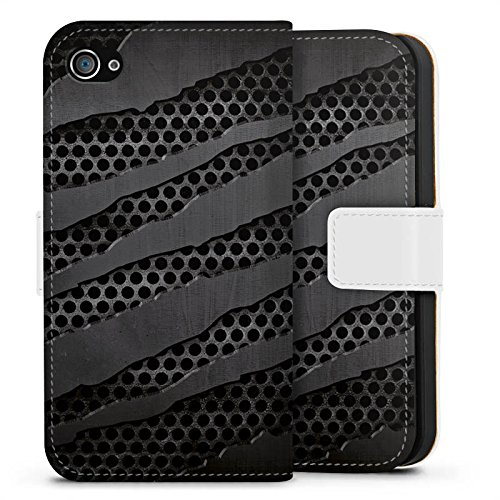 Apple iPhone X Silikon Hülle Case Schutzhülle Carbon Metall Look Sideflip Tasche weiß