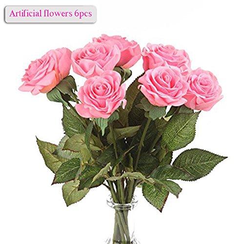 Künstliche Blumen, Meiwo 6pcs 43cm / 17in Runde Rosen voller Blüte künstliche Seide echte Touch Blumen für Wohnkultur, Parteien, Hochzeiten, Büros, Restaurants(Rosa) (Rose Top Seide)