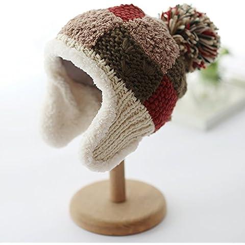 Dngy*Chiu Wai Inverno Bambini Caps maglia più auricolare inverno privo