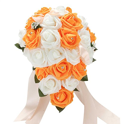 Bridal bouquets wedding flowers orange amazon vlovelife mix white orange wedding bouquet bridal bridesmaid artificial foam rose flower handmade posy pearl rhinestone plant leaf vine satin ribbon decor mightylinksfo