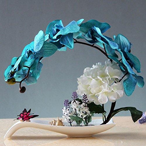 Jnseaol fiori artificiali fiori artificiali orchidee festa della mamma regali salotto festa di nozze cucina decorazione domestica vaso in ceramica diy blu-01