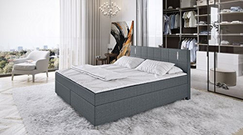 King Boxspringbett 180x200cm LED Bett Doppelbett Polsterbett Komplettbett Stoff - grau