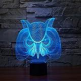 Owl 3D Optical Illusion Desk Lamp 7 Colors Change Touch Button USB Nightlight Produces Unique Visualization Lighting Effects Art Sculpture Light