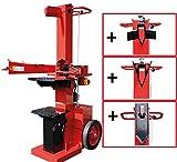 CROSSFER Holzspalter 14 Tonnen 400V Brennholzspalter 135cm Spaltlänge Komplettset inkl. Spaltkreuz, Keilverbreiterung und Keilverlängerung Hydraulikspalter Meterspalter