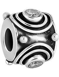 Nena Lina Cubic circonios Bead blanco en{925} plata de ley, también compatible con Pandora pulseras, 718035-019