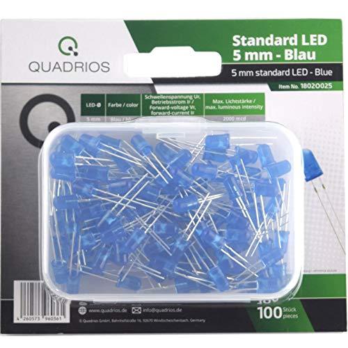 Preisvergleich Produktbild QUADRIOS Standard-LED-Set Blau 5 mm Leuchtdioden und Dokumentation (100 Stück)