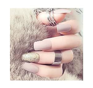 TBOP FAKE NAIL art reusable French long Artifical False nails 24 pcs set in Grey color