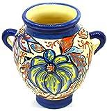 Art Escudellers ORZA/Maceta Nº3 Tiesto Jardinera en Ceramica Hecha y Pintada a Mano con decoración Flor con Orificio para Colgar 17,5 cm x 13 cm (Flor Marina Azul)