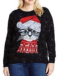 Paolian Femmes de mode de Noël de chat d'impression T shirt Tops