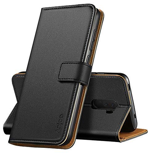 Anjoo Kompatibel für Xiaomi Pocophone F1 Hülle, Handyhülle für Xiaomi Pocophone F1 Schutzhülle, Tasche Leder Flip Case Brieftasche Etui mit Kartenfach und Ständer für Xiaomi Pocophone F1 - Schwarz