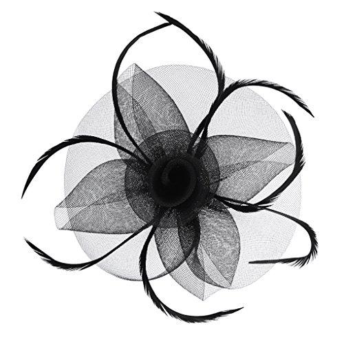 Blumen Fascinator, Braut Patei Kopfschmuck, Garn Braut Haarschmuck, Hochzeit Haar Clip Hut Stirnband, Haarclip Hairpin Haarband für Party Kirche (Fascinator Hut)