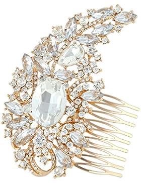 EVER FAITH® österreichische Kristall Braut 4.5 Inch Blume Blätter Haarkamm Rose-Gold-Ton A07709-3