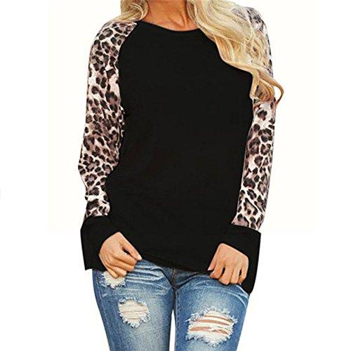 GOKOMO Frauen Langarm Rundhals Leoparden Top Weiß Schwarz Grau Grün Lila Damen Leopard Bluse Langarm Fashion Damen T-Shirt Übergrößen Tops(Schwarz,Small) -