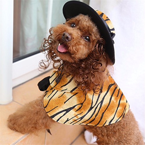 Pet Online Hund Kleidung Halloween dress up Festival schickes Kostüm Anzug perücke Schal hat Klage pet Kleidung, Tiger Muster, (Kostüm Halloween Für Tiger)