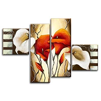 Wieco Art -Scents of Callas-Stretched and Framed 100% Hand-painted Wall Art Decor Home Decoration Floral Oil Paintings on Canvas 4pcs/set - cheap UK canvas shop.
