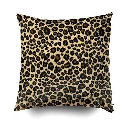 EUEI Christams Safari Leopard Print Cushions Case Throw Pillow Cover for Sofa Home Decorative Pillowslip Gift Ideas Household Pillowcase Zippered Pillow Covers 18X18Inch -