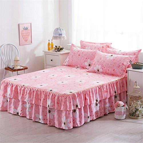 ishine Bett Rock Tagesdecke Bett Abdeckung 150cmx200cm Steppdecke Bettüberwurf Ohne Kissenbezug-Rosa-B (Bedskirt Frühjahr)