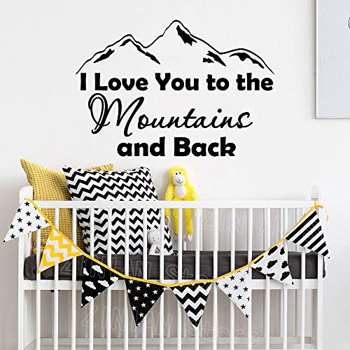 Modeganqingg Ti Amo sulle Montagne e sulle Decalcomanie della Parete Posteriore Adesivi Staccabili in Vinile Adesivi per Bambini Sala Giochi Nera 81X56 cm