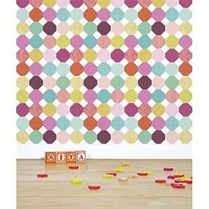Lilipinso and Co - Papier peint - Le de papier peint intisse Geometrique multicolore fille