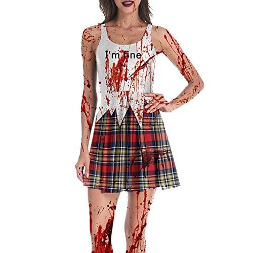 Feytuo Kostüme für Damen Party Halloween Horror Bone Print Kleid Halloween Kostüm Bar Party Stage Kleid (Zigeuner Kostüm Zum Verkauf)