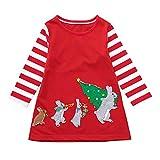 Beikoard_Babykleidung Weihnachten Kinder Mädchen langärmelige Streifen Cartoon Kaninchen Print Kleid Bedrucktes Kleid Prinzessin Kleid