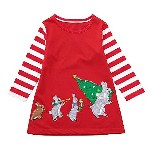 Kinder Kinder Mädchen Langärmelige Streifen Cartoon Kaninchen Print Kleid Weihnachten Kinder Langarm Gestreifte Cartoon Bunny Print Kleid ()