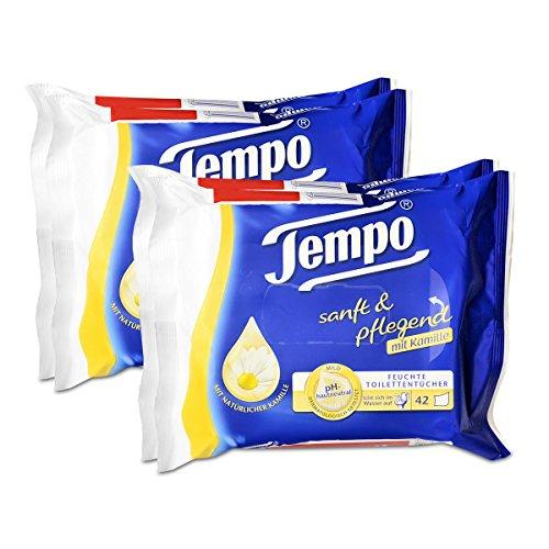 2x Tempo Feuchte Toilettentücher sanft & pflegend Duo-Nachfüllpackung, mit Kamille 2x42er -