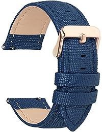 6 Colores para Correa de Reloj,Fullmosa®Cross Piel Correa Huawei Samsung Correa/Banda/Band/Pulsera/Strap de Recambio/Reemplazo 18mm 20mm 22mm 24mm,Azul Oscuro 22mm