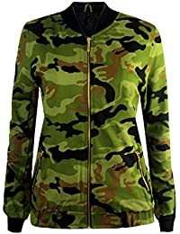 CANDY FLOSS WOMENS LADIES CANVAS BIKER CELEBRITY MA1 CAMOUFLAGE ARMY BOMBER JACKET SIZE 8-14