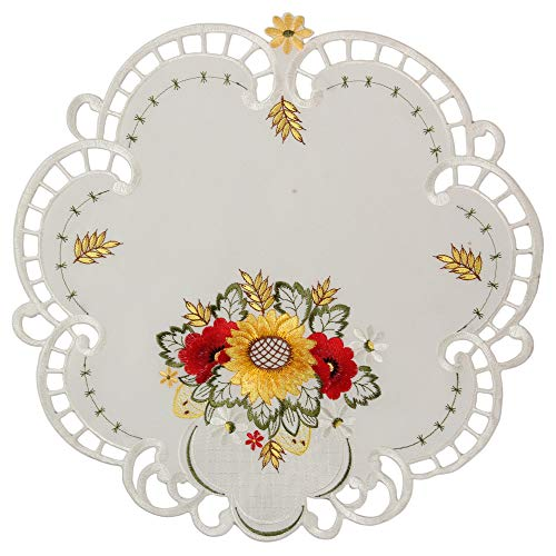 Quinnyshop papavero girasole ricamo runner da tavolo tovaglia diverse dimensioni raso ottico, bianco, poliestere, bianco, rond 40 cm