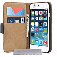 Caseflex iPhone 6 Tasche Schwarz Echt Leder Brieftasche Hülle
