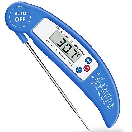 Amir termometro cucina, digitale termometro da cucina con schermo lcd, lettura istantanea, sonda lunga, meglio per carne, griglia, barbecue, latte e acqua del bagno (blu)
