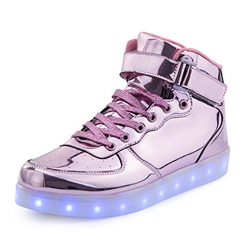 FLARUT 7 Farbe USB Aufladen LED Leuchtend Leuchtschuhe Blinkschuhe Sport Schuhe für Jungen Mädchen Kinder(30 EU,Rosa)