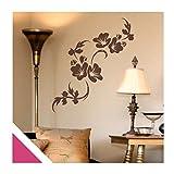 Exklusivpro Wandtattoo Blumen Ranke Eluise mit SWAROVSKI (flo128wg pink) 120cm | 37 Farben & 3 Größen
