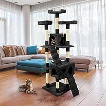 Tiragraffi da 170Cm con Cuccia per Gatti Albero Parco giochi gioco tira graffi per Gatto [Nero] - Wintem