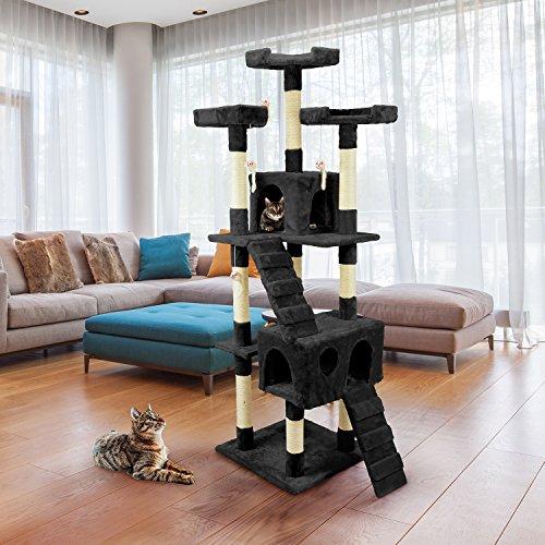 Wintem Tiragraffi da 170Cm con Cuccia per Gatti Albero Parco giochi gioco tira graffi per Gatto [Nero]