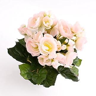 artplants.de Begonia Artificial con 27 Hojas, 9 Flores, Rosa-Blanco, 20cm, Ø 20cm – Planta Decorativa – Flores Artificiales