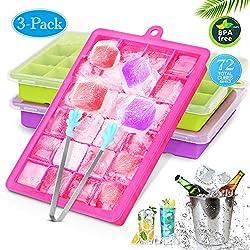 CAVN Silikon Eiswürfelform [3-Stück], 72-Fach Eiswuerfel Form Mit Deckel & Clip Ice Tray Ice Cube, LFGB Zertifiziert, BPA-frei, Eiswuerfelbehaelter Eiswürfelschale für babynahrung, Party und Bars