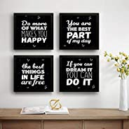SAF Motivational Set of 4 UV Textured Painting (19 x 19 Inches, SAF_SET4_24)