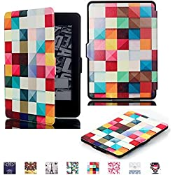 ProElite Ultra Slim Smart Flip case cover for all New Amazon Kindle Paperwhite (Auto Sleep/Wake up with magnetic lock) (Design-Squares)