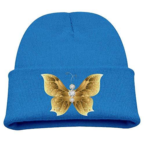 UUOnly Gold Butterfly Beanie Caps Strickmütze Winter Warm Baby Girls Butterfly Beanie Baby