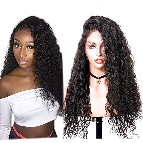 Giannay Hair Natural Curly Wave Lace Front Wig Black