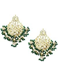 Mehrunnisa Traditional Gold Tone Kundan & Green Pearls Earrings With Free Kan Chain For Women (JWL1283)
