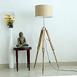 Buy One Get One FREE Handloom Fabric Brown Shade Natural Finish Wooden Tripod Floor Lamp