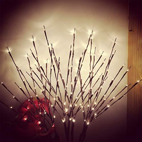 Mobestech 1 piezas rama rama luz navidad led simulativo sauce rama rama árbol luces batería decoración luz con 20 lámparas para navidad hogar