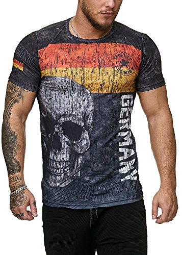 Deutschland T-Shirt Herren Schwarz Adler Totenkopf Germany Men Skull John Kayna (3XL) (Male Model-figur)