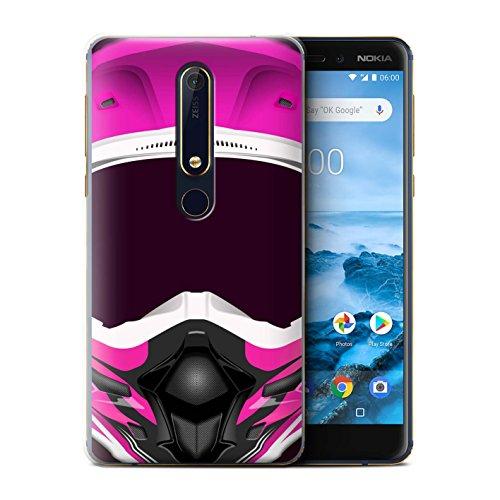 Stuff4® Custodia/Cover/Caso/Cassa Rigide/Prottetiva Stampata con Il Disegno Casco Moto per Nokia 6 2018 (6.1) - Motocross/Rosa