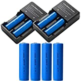 4pcs 18650 batteria 3000 mAh e Caricabatterie per batterie ricaricabili con porta USB for 18650,18350,16340(RCR123), 26650 etc,rechargeable batteries