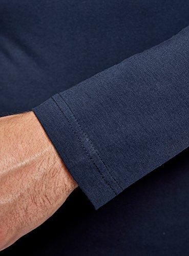 oodji Ultra Herren Tagless Langarmshirt Aus Baumwolle Blau (7900N)