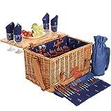 Les Jardins de la Comtesse - Picknickkorb aus Weide und Leder Saint-honoré in blau, mit abnehmbarem Tisch - für 4 Personen - voll ausgestattet - 45 x 28 x 28 cm